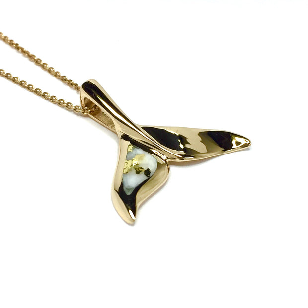 Gold-in-Quartz Whale Tail Necklace Pendant Jewelry - Medium - Singled Sided Inlaid - James Hawkes Designs - Hawkes and Co