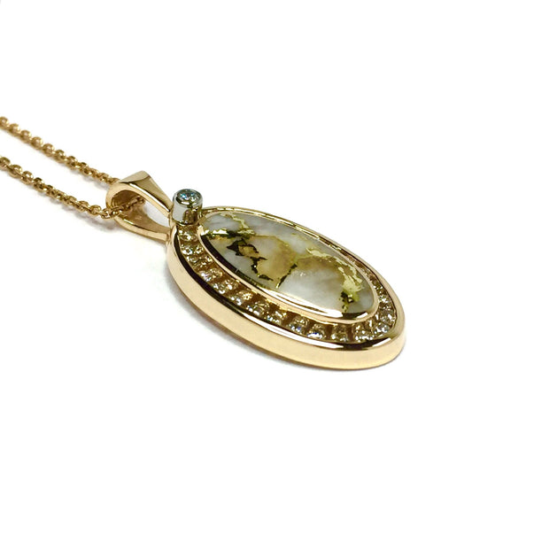 Gold quartz necklace oval inlaid .37ctw halo diamonds pendant made of 14k yellow gold