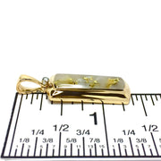 Gold quartz necklace rectangle inlaid pendant made of 14k yellow gold with .02ct diamond