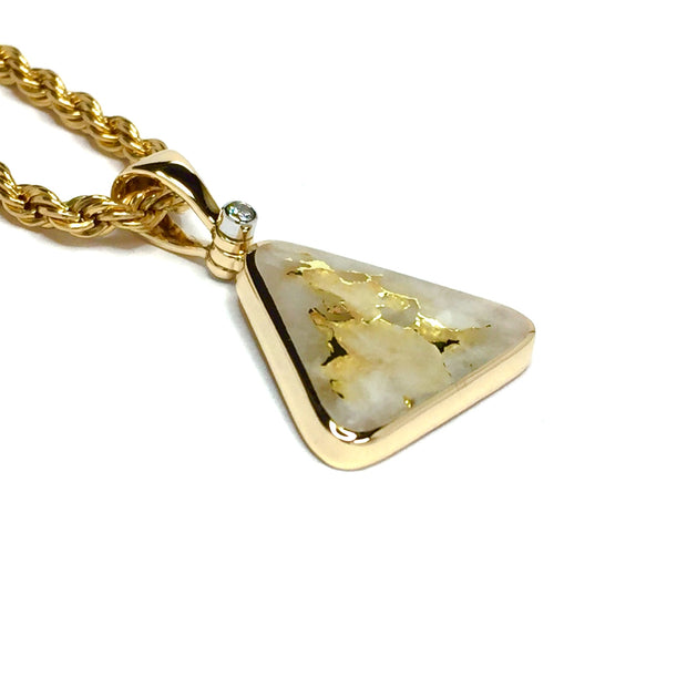 Gold quartz necklace triangle inlaid pendant made of 14k yellow gold with .02ct diamond