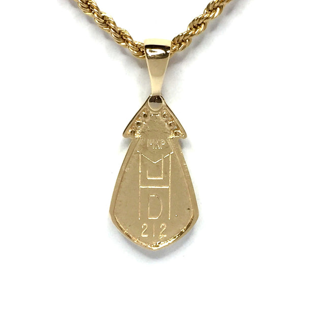 Gold quartz necklace pear shape inlaid pendant made of 14k yellow gold with .15ctw diamonds