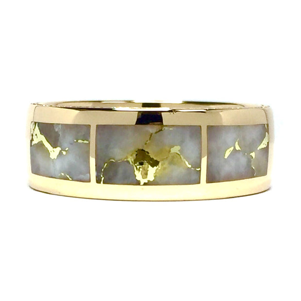 Gold Quartz Ring 3 Section Rectangle Inlaid Milgrain Design Band 14k Yellow Gold