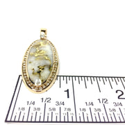 Gold quartz necklace oval inlaid .96ctw diamond halo pendant made of 14k yellow gold