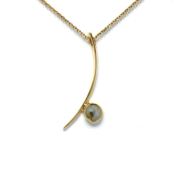 Gold quartz necklace round inlay curved bar design pendant made of 14k yellow gold