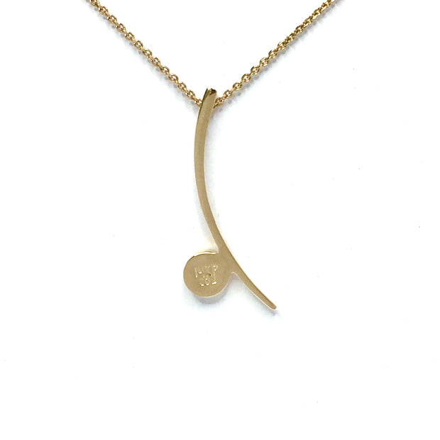 Gold-in-Quartz Necklace - Curved Bar Round Inlay Design - Collection Quality Quartz - James Hawkes Designs - Hawkes and Co