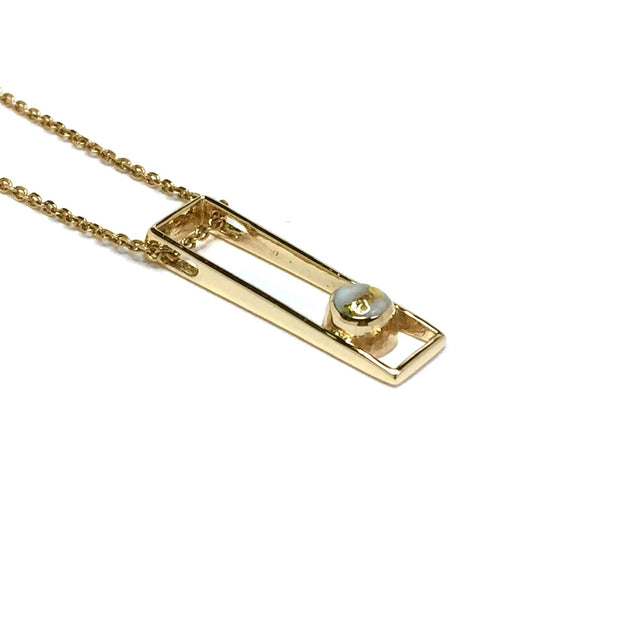 Gold quartz necklace round inlay long open rectangle design pendant made of 14k yellow gold