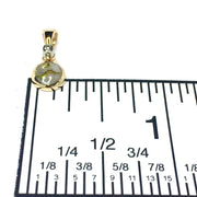 Gold Quartz Necklace Round inlaid pendant made of 14k yellow gold with a single .02ct round diamond