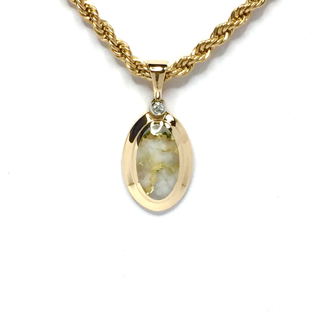 Gold Quartz Necklace Pendant Jewelry - Oval Inlaid Design - .02ct Round Diamond - Superior Quality Quartz - 14K Yellow Gold - James Hawkes Designs - Hawkes and Co