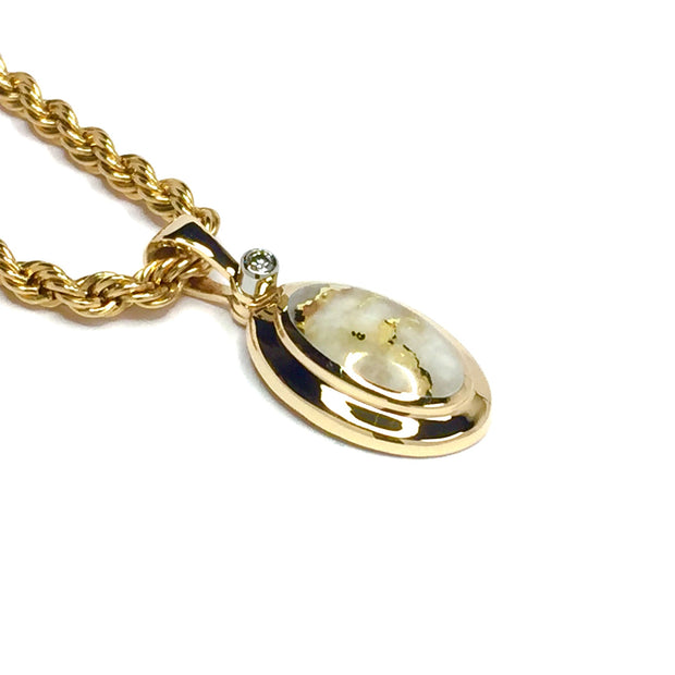 Gold quartz necklace oval inlaid pendant made of 14k yellow gold with .02ct diamond