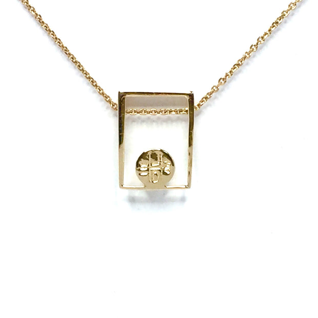 Gold quartz necklace round inlay open rectangle pendant made of 14k yellow gold