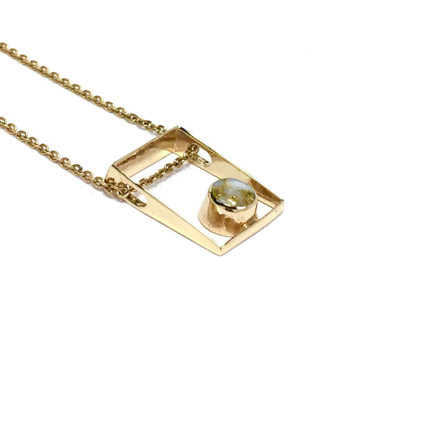 Gold in Quartz Pendant Necklace Jewelry - Rectangle Design Round Inlay - 14K Yellow Gold - Superior Quality Quartz - James Hawkes Designs - Hawkes and Co