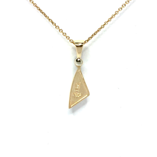 Gold Quartz Necklace Sail Inlaid Design Pendant made of 14k yellow gold with a single .02ct round diamond