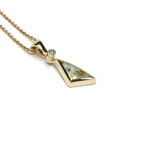 Gold in Quartz Pendant Necklace Jewelry - Sail Inlaid Design Pendant - 14K Yellow Gold - Superior Quality Quartz - James Hawkes Designs - Hawke and Co