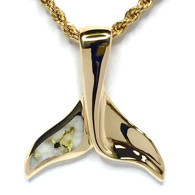 Gold in Quartz Whale Tail Pendant Necklace Jewelry - Single Sided Inlaid - XL Size - 14K Yellow Gold - Collection Quality Quartz - James Hawkes Designs - Hawkes and Co