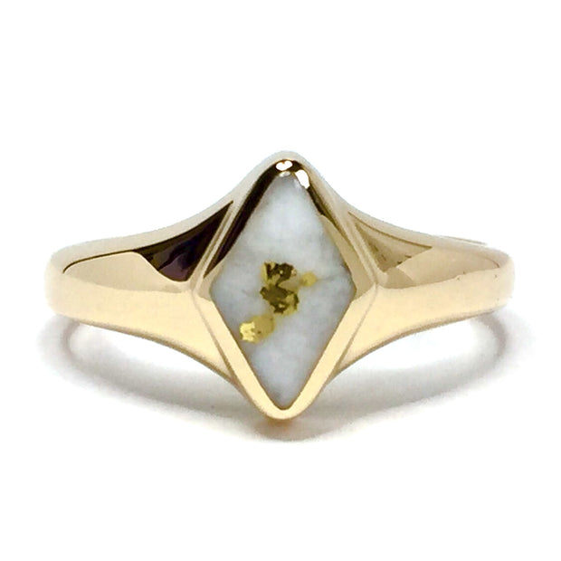 Gold Quartz Ring Diamond Shape Inlaid Design 14k Yellow Gold