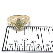Gold Quartz Ring diamond shape inlaid .05ctw round diamonds 14k yellow gold