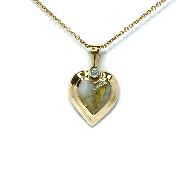 Gold Quartz Necklace Heart Shape Inlaid Pendant made of 14k yellow gold with a single .02ct diamond