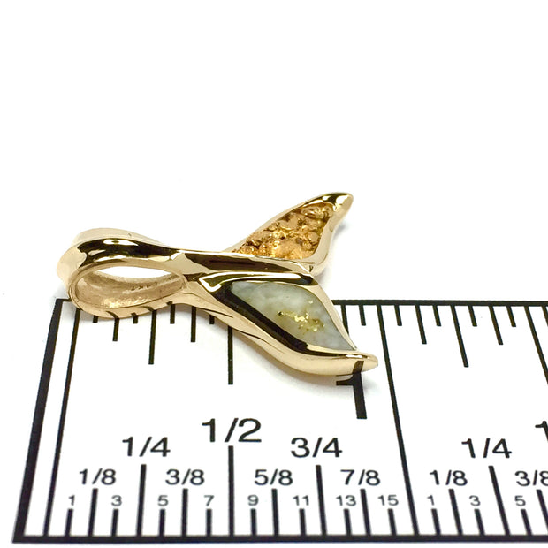 Large Whale Tail Pendant Gold Nuggets, Superior Quality Gold Quartz