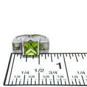 Gold Quartz Ring Double Sided Inlaid Princess Cut Peridot 14k White Gold