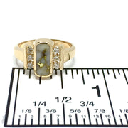 Gold in Quartz Ring - Oval Inlaid Design - .24ctw Round Brilliant Cut Diamonds - 14K Yellow Gold - James Hawkes Designs - Hawkes and Co