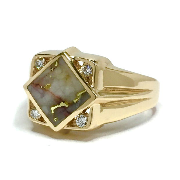 Gold Quartz Ring Diamond Shape Inlaid .16ctw Round Diamonds 14k Yellow Gold
