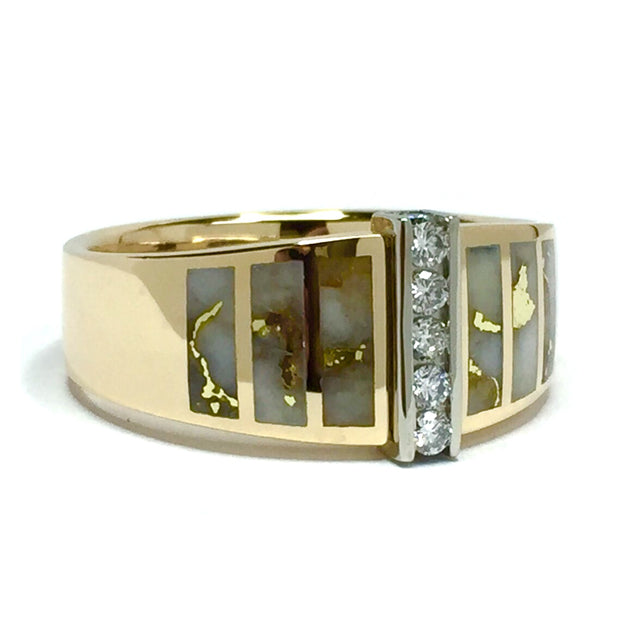 Gold Quartz Ring 6 Section Inlaid .19ctw Round diamonds 14k Yellow Gold