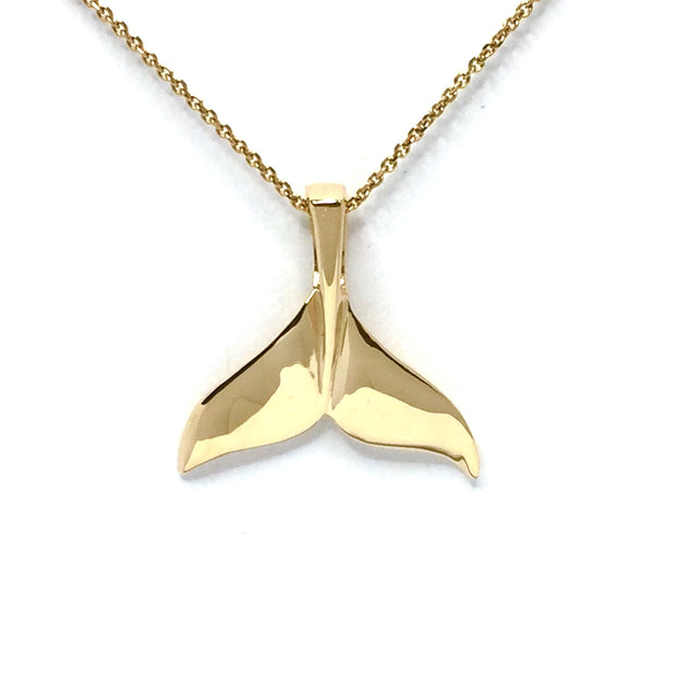 Whale tail necklaces single sided natural nuggets inlaid sea life pendant made of 14k yellow gold
