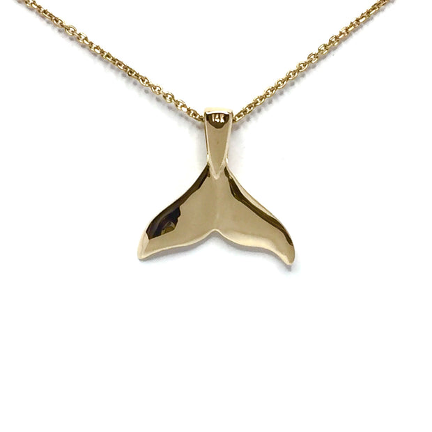 Whale tail necklaces single sided natural nuggets inlaid seal life pendant made of 14k yellow gold