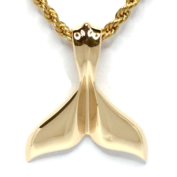 Whale Tail Necklaces gold in quartz double sided inlaid sea life pendant made of 14k yellow gold.