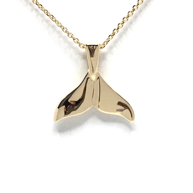 Small High Polish Reversible Whale Tail Necklace Pendant 14k Yellow Gold - James Hawkes Designs - Hawkes and Co