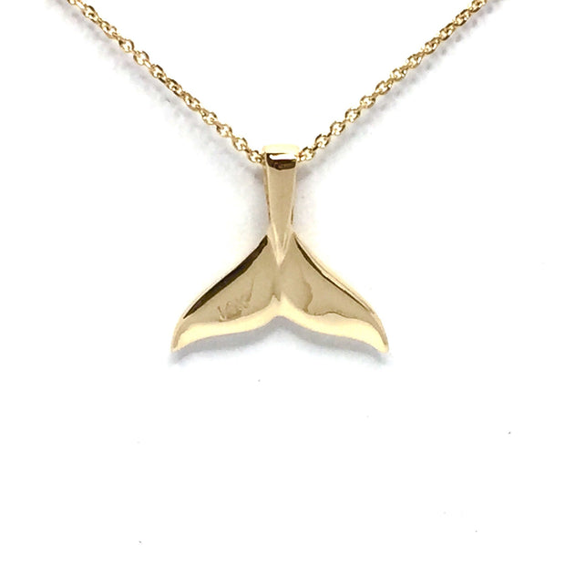 Whale Tail Necklaces double sided natural nuggets inlaid sea life pendant made of 14k yellow gold