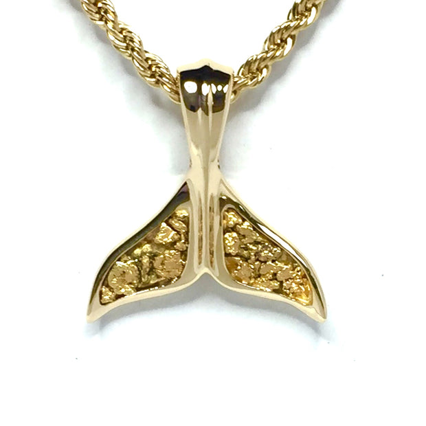 Whale tail necklaces natural nuggets double sided inlaid sea life pendant made of 14k yellow gold