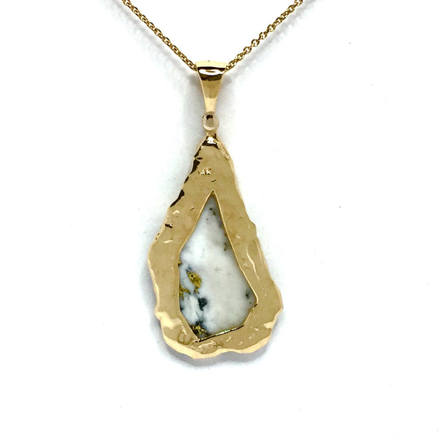 Gold in Quartz Freeform One of a Kind Pendant Necklace 14k Yellow Gold with a single .02ct diamond