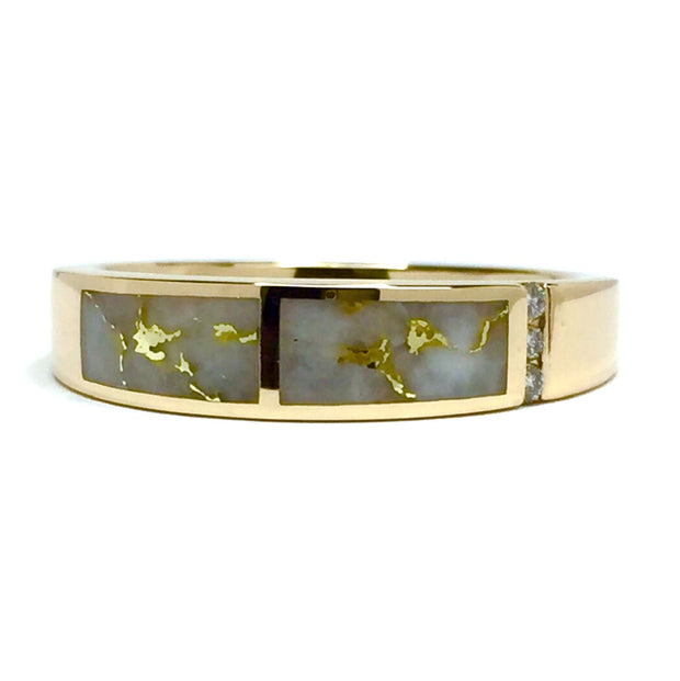 Gold Quartz Ring Double Inlaid Design .03ctw Round Diamonds 14k Yellow Gold