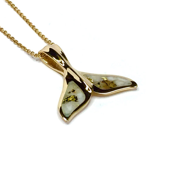 Whale tail necklace inlaid gold in quartz sea life pendant made of 14k yellow gold