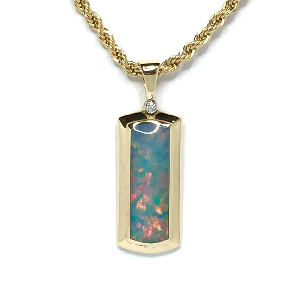 Opal Pendant Rectangle Inlaid Design .02ct Round Diamond 14k Yellow Gold