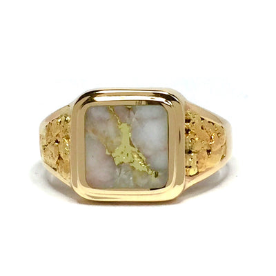 Gold Quartz Ring All Natural Nuggets 3 Section Inlaid 14k Yellow Gold