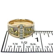 Gold Quartz Ring Double Side Inlaid Design with .19ctw Round Diamonds 14k Yellow Gold