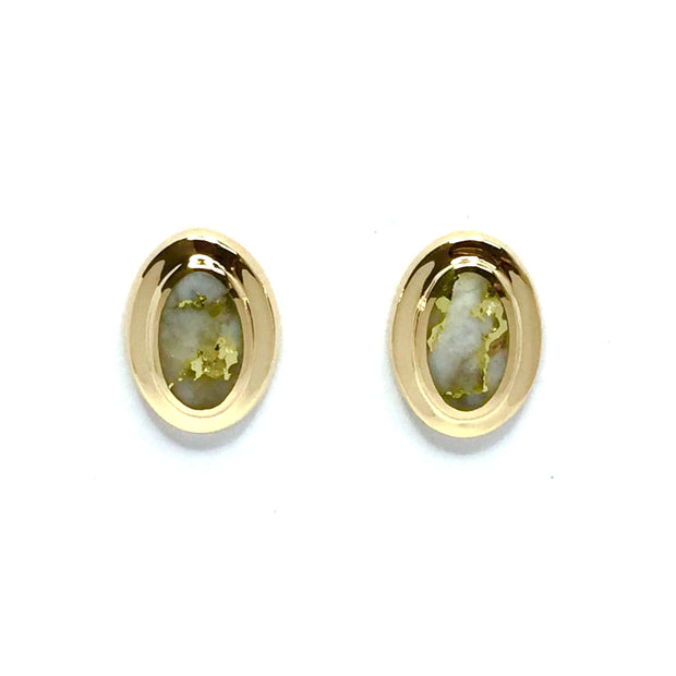 Gold Quartz Earrings Oval Inlaid Design Studs 14k Yellow Gold