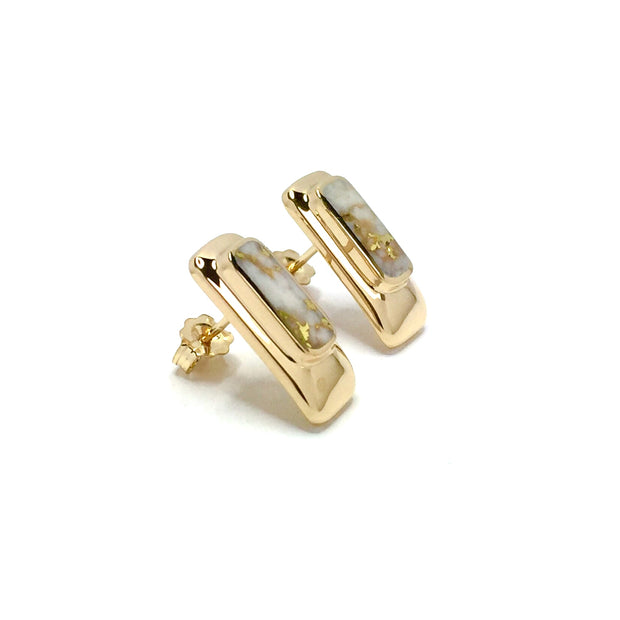 Gold Quartz Earrings Rectangle Inlaid Design Studs 14k Yellow Gold