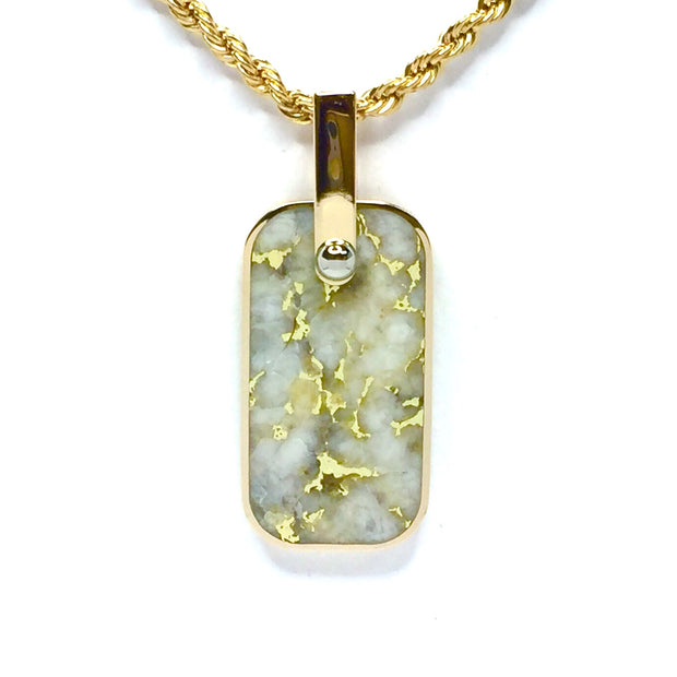 Gold Quartz Necklace Inlaid Cross Dog Tag Design Pendant 14k Gold