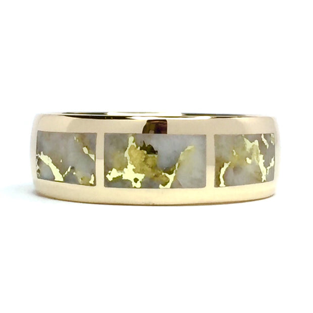 Gold Quartz Ring 3 Rectangle Section Inlaid Band 14k Yellow Gold