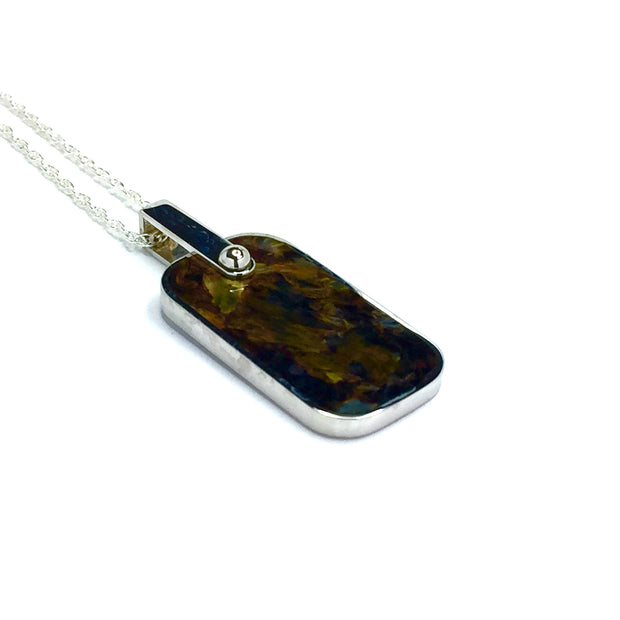 Natural Pietersite Dog Tag Cross Inlaid Pendant 14k Gold