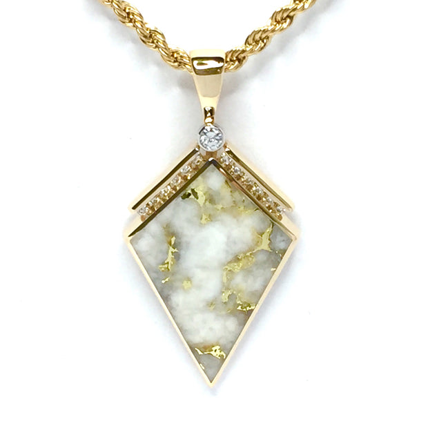 Gold Quartz Necklace Kite Shape Inlaid Pendant .27ctw Diamonds 14k Yellow Gold