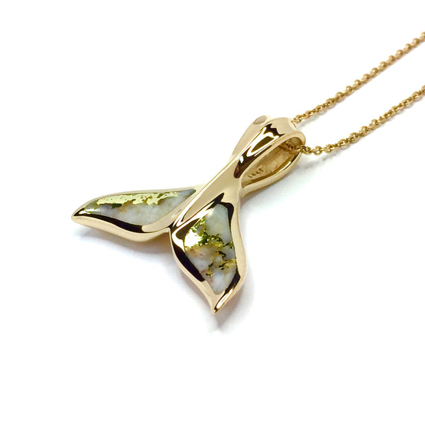 Whale Tail Necklaces Gold Quartz Double Sided Inlaid Sea Life Pendant