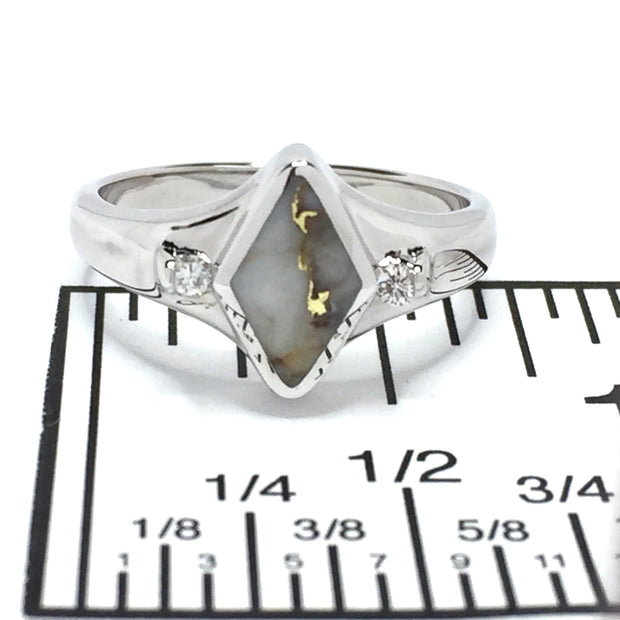 Gold Quartz Ring Diamond Shape Inlaid with .05ctw Round Diamonds