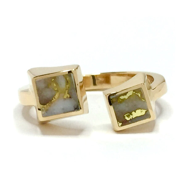 Gold Quartz Ring Warp Double Inlaid Ends Design 14k Yellow Gold