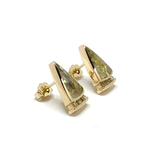 Gold quartz earrings triangle inlaid .12ctw round diamonds 14k yellow gold