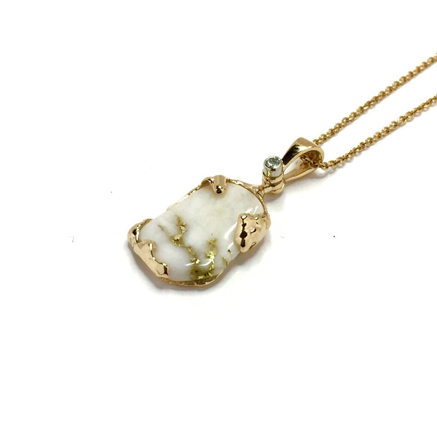 Free Form One of a Kind Gold Quartz Necklace 14k Yellow Gold