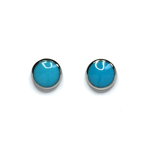 Turquoise Earrings 9mm Round Inlaid Studs